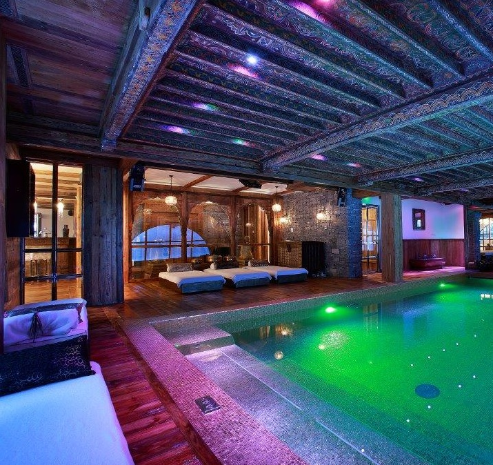 custom indoor swimming pool with led lights